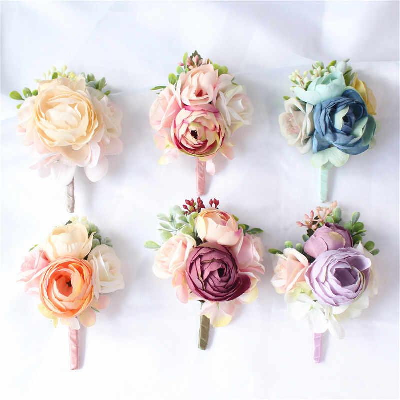 YO CHO Damigella D'onore Decor Mini Rosa Fiori di Testa Da Polso Fiori e Boutonnieres Set Da Sposa Decorazioni di Nozze Bouquet di Peonia Spilla