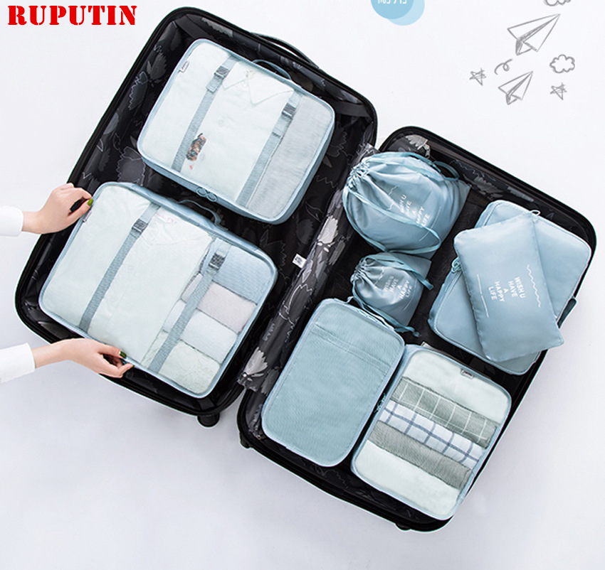 RUPUTIN 8Pcs/set Travel Bag Set For Packing Cube Shoes Clothes Toiletry Organizer Pouch Divider Containe Travel Accessories Case