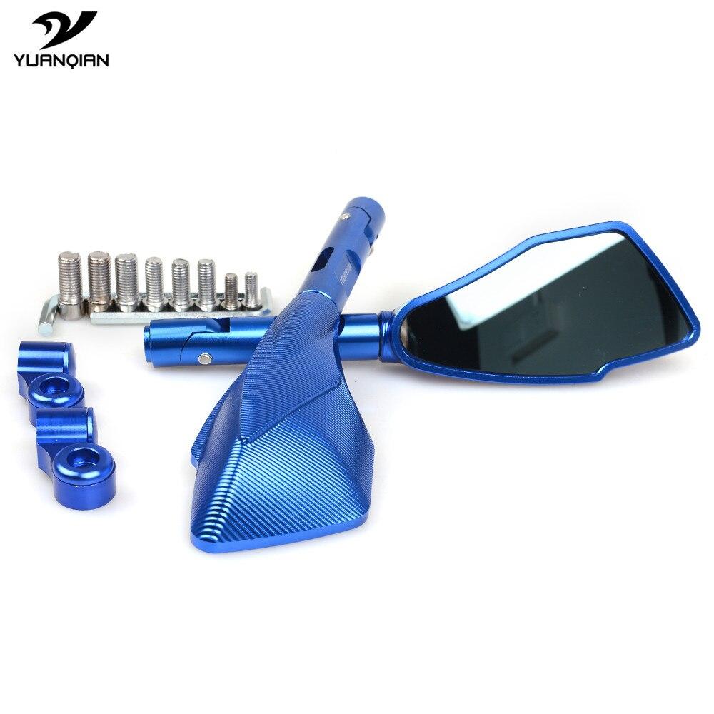 Blue Folding CNC Bar End Mirrors Kit For Yamaha FZ1 Fazer 1000 S FZ6 Fazer 600 S FZ8 Fazer MT07 MT09 XJ6 Diversion 16 17