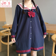 Cute Women Dresses Bow Ties Kawaii Harajuku Dress Sailor Collar Plus Size Spring Autumn Sweet Lady's Street Style Red
