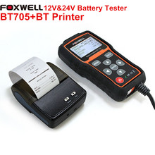 FOXWELL BT705 Analizador de Baterías de Coche de 12 V y 24 V Heavy Duty Truck Batería Batería Probador de Verificación Salud Rápido con Bluetooth de La Impresora