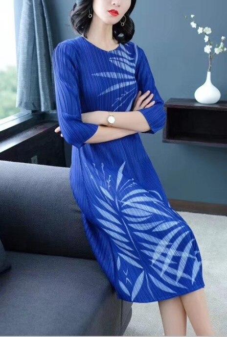 line A borgoña azul Medio cuello Vestido Pliegue O Moda Stock Imprimir En Gratis Negro Miyake Envío Zzpvqv