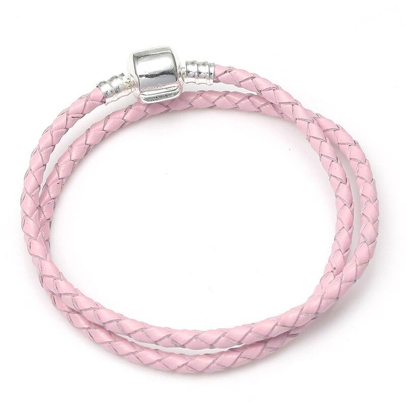 BAOPON, Прямая поставка, высокое качество, 9 цветов, кожаная цепочка, браслеты с подвесками, сделай сам, прекрасный браслет для женщин, девушек, ювелирное изделие, подарок - Окраска металла: Pink 3