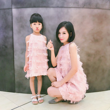Sleeveless Mother and Daughter Tassel Dress Family Matching Outfits Mommy and Me Clothes Mom Daughter Dresses Family Clothing YE family matching outfits mom mommy and me clothes print black and white splice mother daughter dresses family clothing plus size