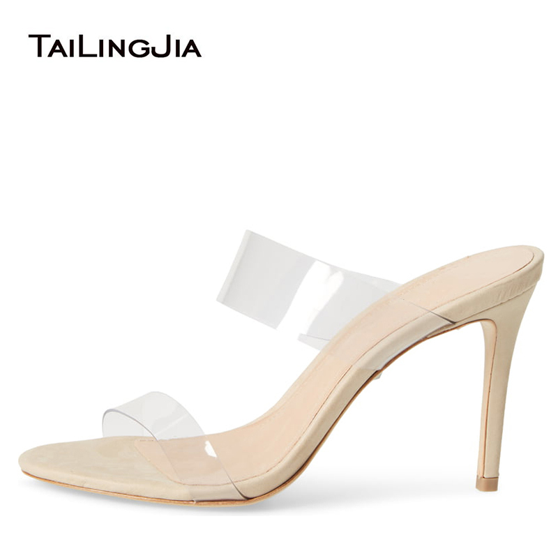 Strappy High Heel Clear Sandals Womens