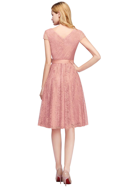 Vestido de cóctel de verano con cuello en V manga corta de encaje Floral para fiesta de moda de diseñador Vestidos cortos de cóctel 2019 vestidos de fiesta