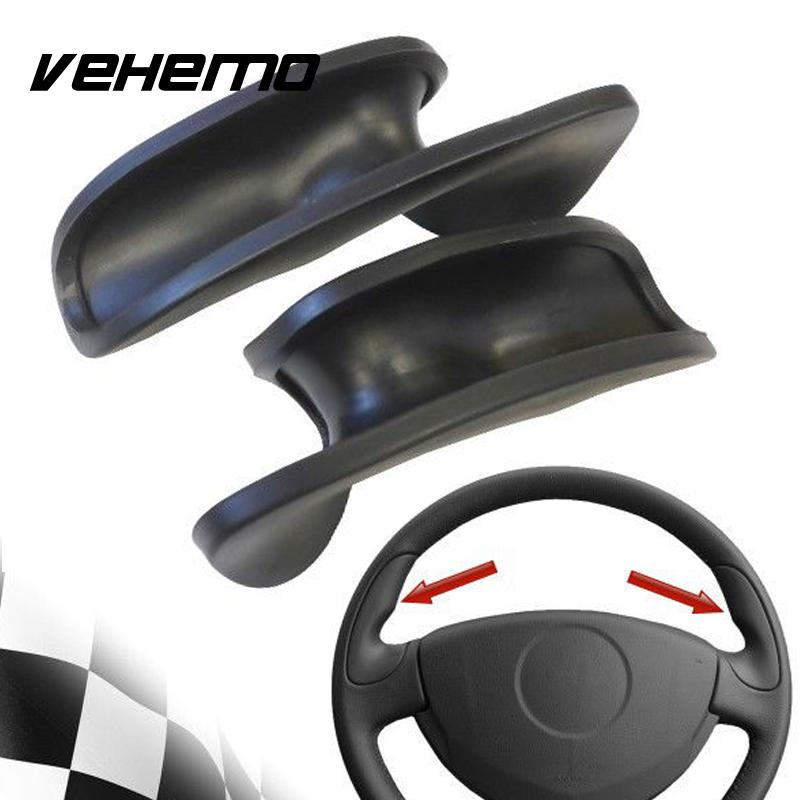 Vehemo Steering Wheel Cover Thumb Grip Steering Wheel Case 1Pair Rubber Black Durable Protection Automobile Spare