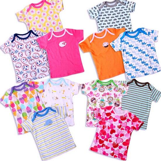 2015 новорожденный бренд футболки для мальчиков дети девушки с короткими рукавами тройники рубашки 100% хлопок 5 шт. в упаковке Лето Тонкий Младенцы топы