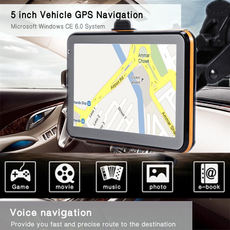 5 дюймов грузовик автомобиль gps навигация TFT ЖК-дисплей сенсорный экран CE 6,0 голосовое руководство gps навигатор Универсальный с бесплатными к...