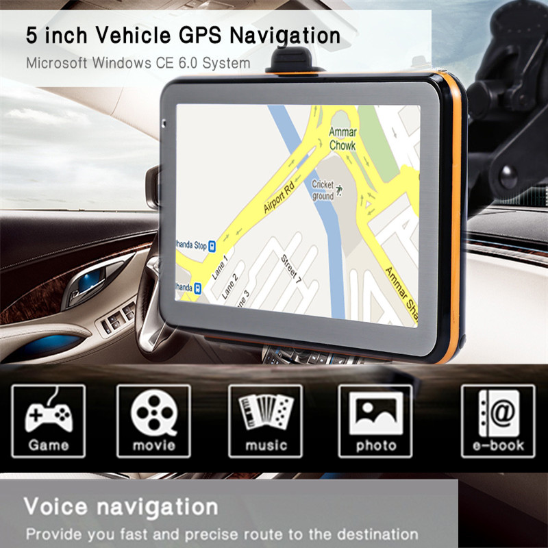 5 inch Truck Car Vehicle GPS Navigation TFT LCD Touch Screen CE 6.0 Voice Guidance GPS Navigator Multifunction With Free Maps 5 3 lcd 396mhz windows ce net 5 0 core gps navigator w fm transmitter 2gb maps