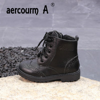 Aercourm A 2018 Children Martin Boots Spring Genuine Leather New British Boots Boys Girls Boots Cashmere