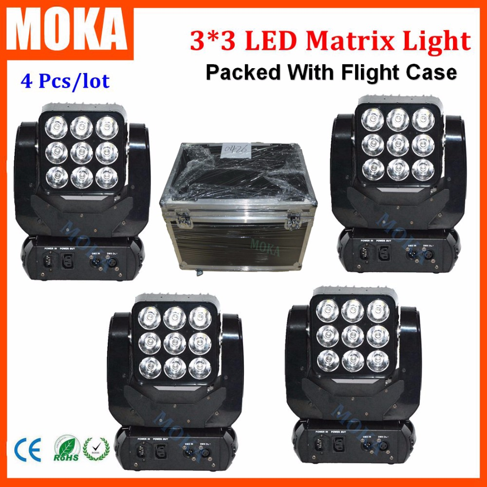 4PCS/LOT 9*10W Led Matrix Infinite Moving Head Light With Road Case RGBW 4 In1 QUAD Light CE RoHS Certificate Centerpiece Light