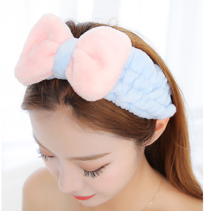 2 Type Bow Tie Women Hair Accessories Wash Shower Cap Head Widen Microfiber Velvet Big Bow Headbands Wash Face Make Spa