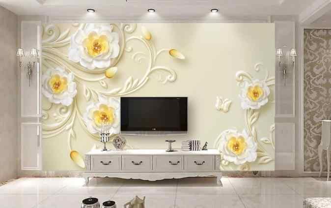 Papier peint rouleau taille salon chambre 3D en relief luxe fleur d'or bijoux TV fond mur