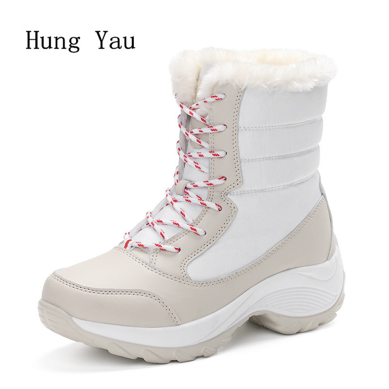Women Snow Ankle Boots 2017 Winter Warm Female Casual Shoes Lace Up Waterproof Woman Flat Fashion Platform Round Toe Comfortable