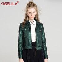 YIGELILA Последняя осень Женская мода крутой Turn Down воротник полный рукав твердый тонкий короткий мото Байкер PU куртка пальто 9603