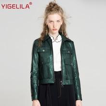 YIGELILA 2017 Latest Autumn Women Fashion Cool Turn-down Collar Full Sleeve Solid Slim Short Moto Biker PU Jacket Coat 9603