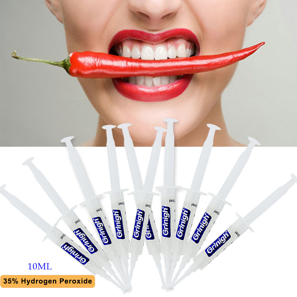 10x10ml Syringe Grinigh 35% HP Hydrogen Peroxide Bleaching Gel Professional Effect Teeth Whitening Refill for Kit Tooth Whitener grinigh professional home teeth whitening kit for 2 people complete system with none peroxide tooth white gel ce fda approved