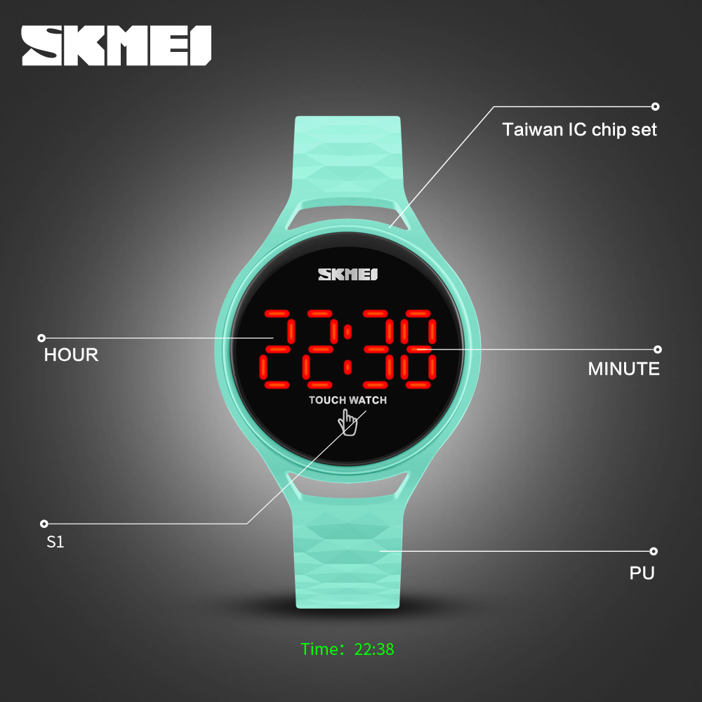 Women Watch SKMEI Fashion Creative Touch Screen LED Digital Watch Men Wrist Watch Sport Wristwatch Student Electronics Watches