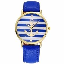 Leather Striped Anchor Women Watch 5 Colors Lover's Quartz Wristwatches unisex Women Men Casual Quartz clock Relogio masculino