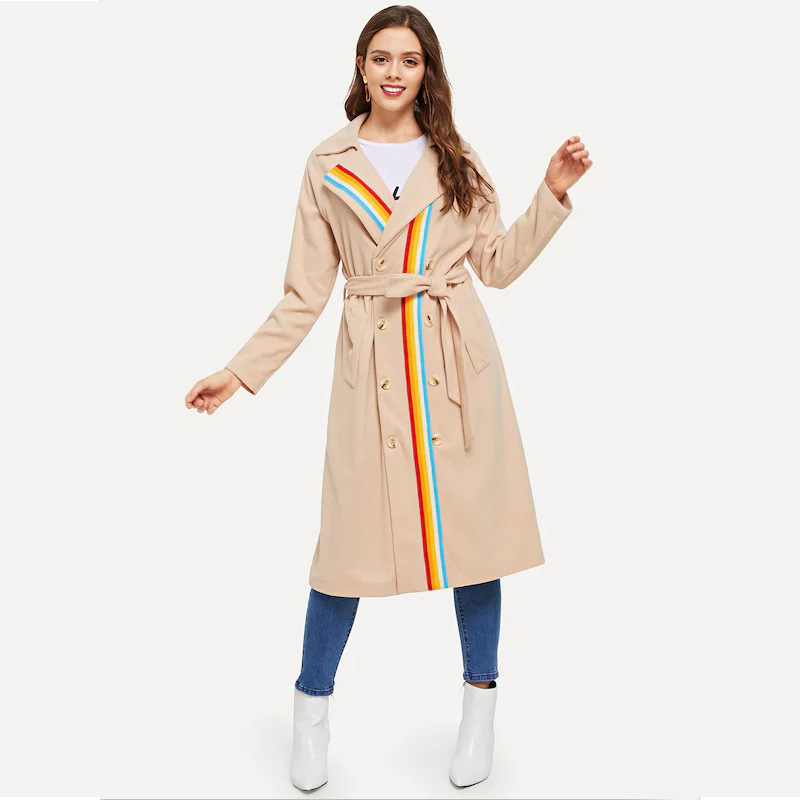 2019 Spring Chic Loose Long   Trench   Coat For Women Clothing Outwear Multi Color Stripes Double Breasted Ladies Trenca Coats Mujer