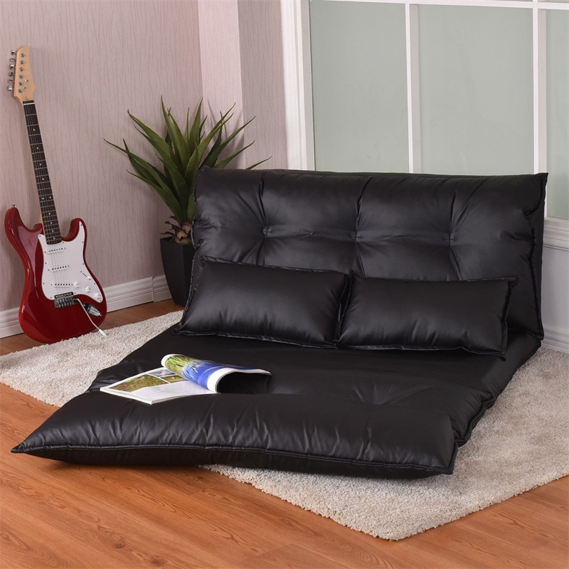 Foldable PU Leather Leisure Floor Sofa Bed W/ 2 Pillows Stylish Comfortable Adjustable Design Black Sofa Bed Furniture HW58030