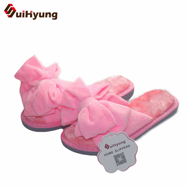New Winter Warm At Home Women's Slippers Comfortable Soft Plush Indoor Shoes With Big Bowknot Female House Skid Slippers