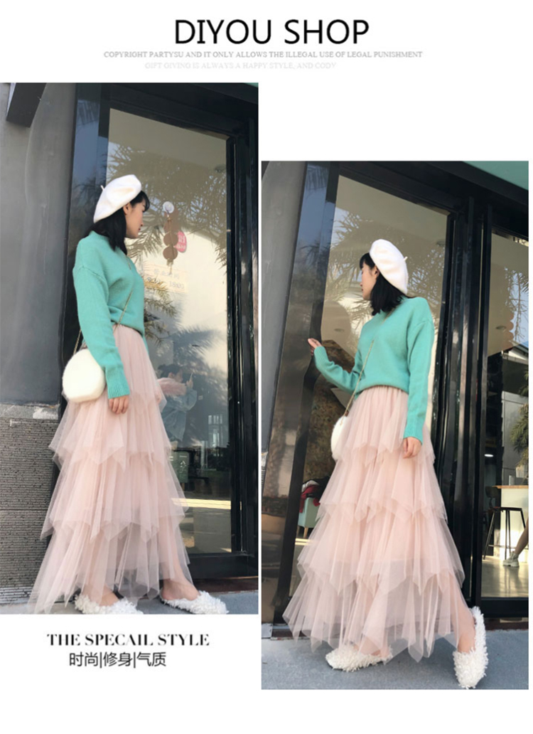 Women irregular Tulle Skirts Fashion Elastic High Waist Mesh Tutu Skirt Pleated Long Skirts Midi Skirt Saias Faldas Jupe Femmle 29
