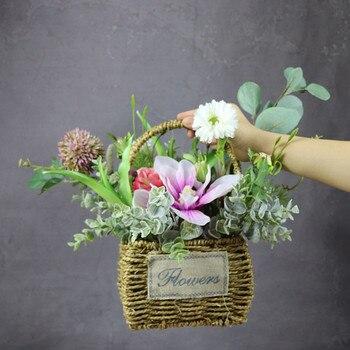 INDIGO Exklusive Verkäufe Blume Korb Set Blume Anordnung Geschenk Bouquet Künstliche Blume Party-Event Freies Verschiffen