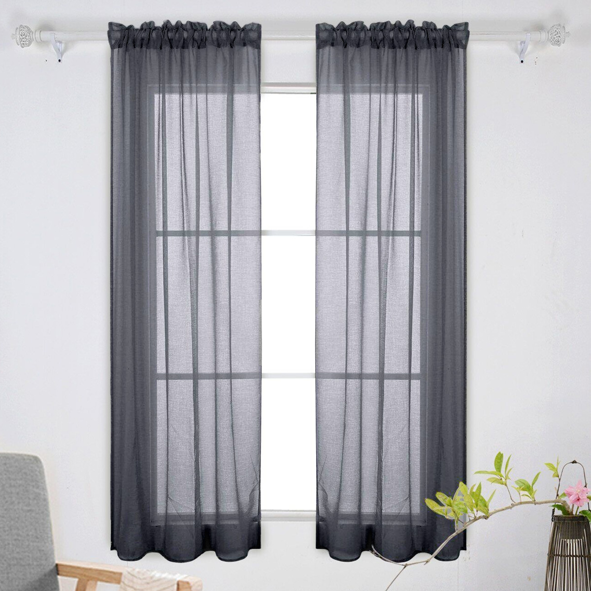 Black Voile Curtains 2pcs Solid Color Transparent Tulle Window Sheer Window Screen Voile Curtains For Wedding Bedroom 100x200cm Black