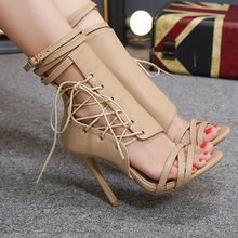 Women Sandals Sexy Gladiator Lace Up Peep Toe