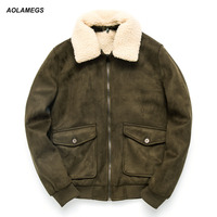 Aolamegs 겨울 재킷 남성 패션 오토바이 바이커 재킷 두꺼워 따뜻한 양털 모피 칼라 착실히 보내다 슬림핏 캐주얼 남성 코트
