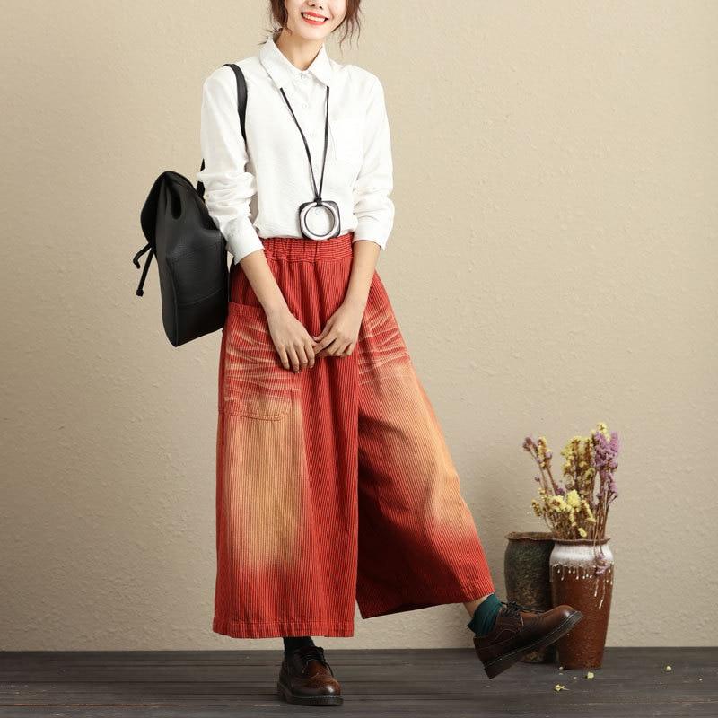 1 De pantalón Tamaño Invierno Cintura Para Otoño Falda Pantalones Calle Moda Ancha Las Nueva 2018 Plus Mujeres La Pierna Elástica wREfHHCxq