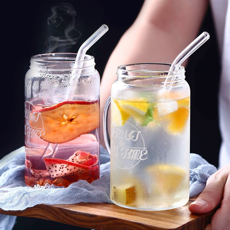 Clear Bent Glass Straws Reusable Wedding Birthday Party Drinking Straws Thick Straws Straight pipe oblique