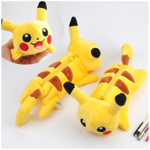 Cartoon Plush Pikachu pencil case Cute Bts Pokemon pencil bag for kids toy gift Korean stationery pouch Office school supplies(China)