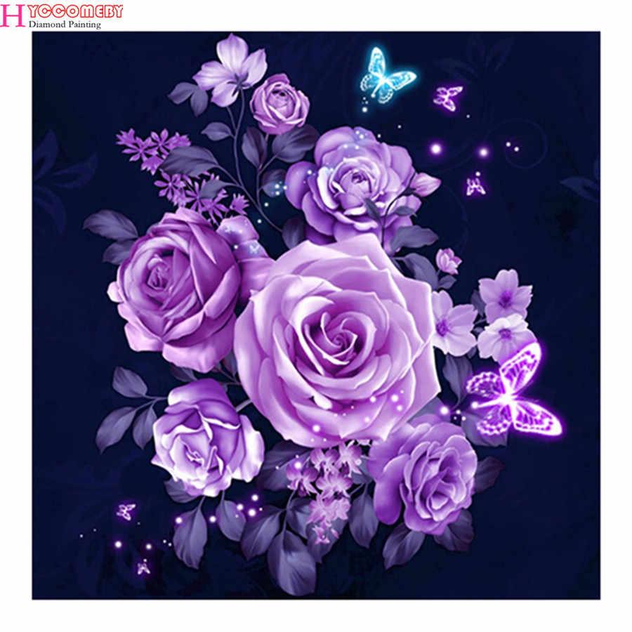 5D DIY полный квадратный/круглый дрель Алмазная картина вышивка крестиком фиолетовая Роза и Бабочка 3D горный хрусталь Вышивка дома мозаика деко