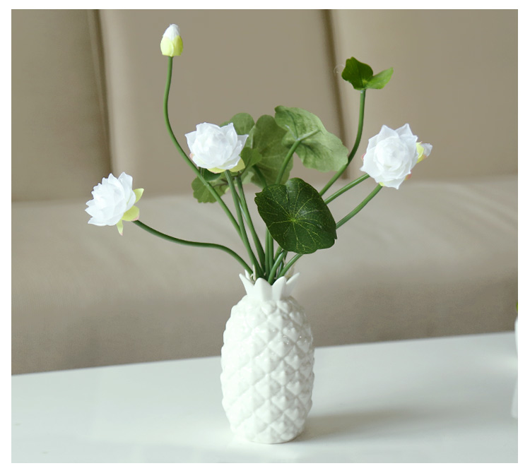 Latest Interiors Porcelain Skin: New Pineapple White Porcelain Glazed Small Vase