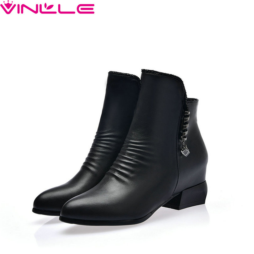 Vinlle 2019 Ankle Boots Square High Heel Zipper All Match