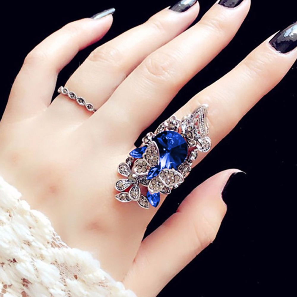 Crystal Big Size Six Stones Bling Two Finger Double Ring Size US8.0