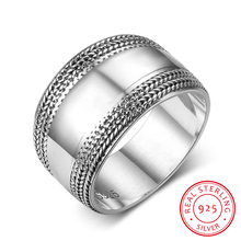 Solid 925 Sterling Silver Rings For Women 13mm Width Laces Vintage Rings Silver Women Jewelry 2017 Fashion  Gift(RI102794)