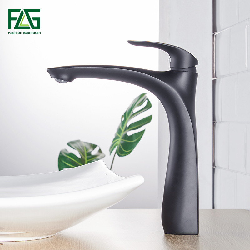FLG Black Basin Faucets Oil Rubbed Bronze Brass Crane Bathroom Faucet Single Handle Cold Hot Bath Sink Basin Water Mixer Taps black oil rubbed deck mounted bathroom faucet basin mixer sink taps dual handle cold and hot water faucets whg066