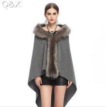 SC67 Womens Fake Fur Collar Back Long Poncho Cape Cardigan Bridal Wedding Dress Shawl 2017 Winter Lady Wool Vest Coat