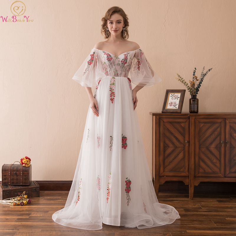 Half Sleeve 2019  Prom Dresses Long Tull Pattern Appliques A Line White V Neck Lace Up Party Elegant Vestido De Formal Evening