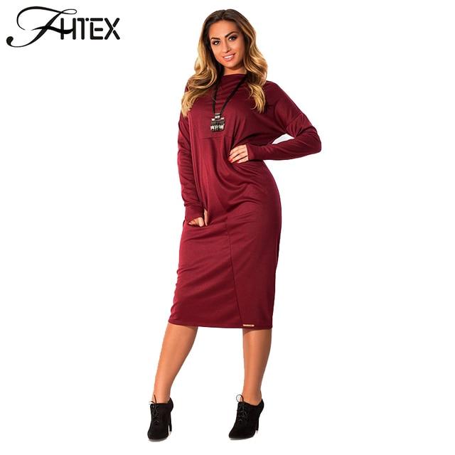 4b85e64e0b3ec Autumn Winter Dress Women Elegant Solid Color Long Sleeve Casual Loose  Party Shift Office Plus Size