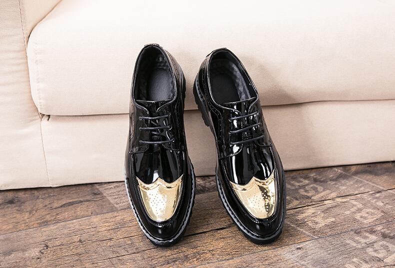 Shoes Men Pointed Toes Smart Casual Platform Height Increasing Shoes Carved Brogue Genuine Patent Leather Lace-Up Dress Shoes fashion genuine leather brogue shoes men spring new dress shoes formal shoes height increasing platform men shoes hot sale