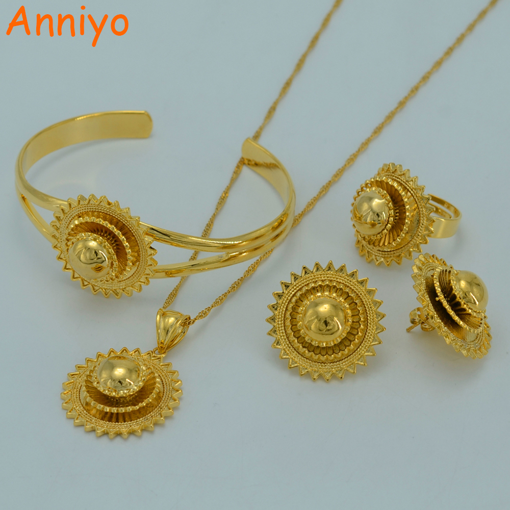 Anniyo Ethiopian Jewelry Sets Traditional Festivals Gold Color Eritrea National Wedding Jewelry Gifts #007802