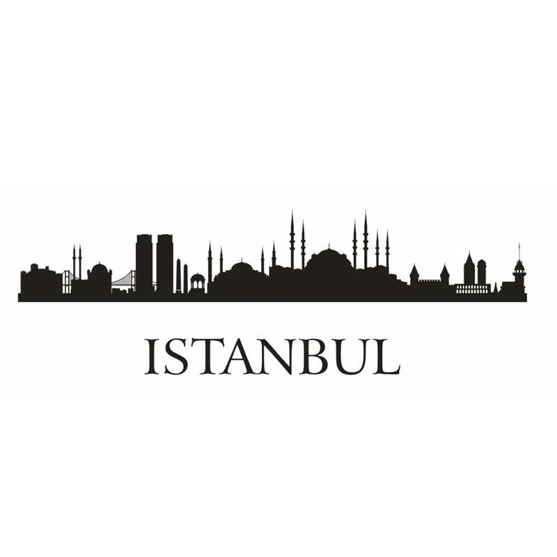 DCTAL ISTANBUL City Decal Landmark Skyline Wall Stickers Sketch Decals Poster Parede Home Decor MosqueSticker