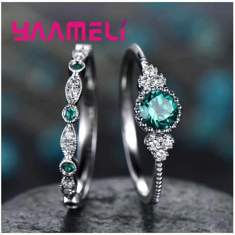 Fashion Crystal CZ Stone Wedding Engagement Finger Rings 925 Sterling Silver Knuckle Ring for Lover Jewelry Green Purple Blue
