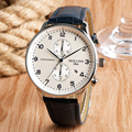 Chronograph Casual Watch Men 50m Water Resistant Thin Big Dial Date Display Business Wristwatch  Real Leather Relogio Masculino