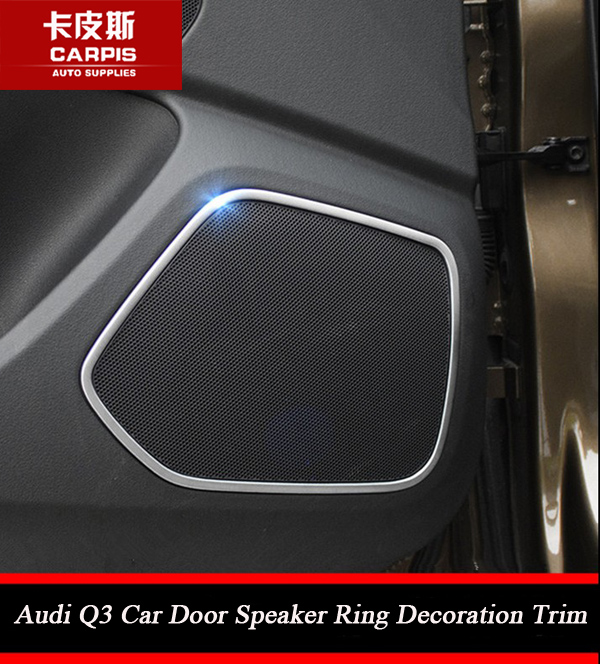 Chrome Car Door Speaker Sound Cover Trim Car Audio Cover Trim Car Interior Mouldings For Audi Q3 2013 2014 2015 2016 Car Styling